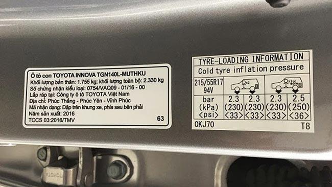 Áp suất lốp xe Toyota Innova