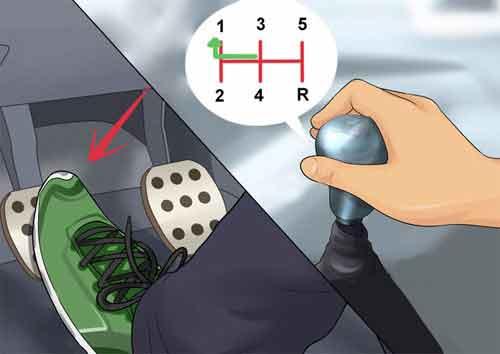 Chân trái đạp bàn đạp ly hơp hết hành trình, tay phải di chuyển cần số sang số 1