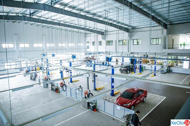 Khu vực sửa chữa – bảo dưỡng xe tại đại lý Toyota Tây Bắc (Sơn La)