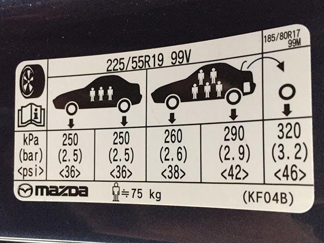 Áp suất lốp xe Mazda cx5