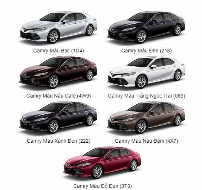 Bảng màu xe Toyota Camry 2021