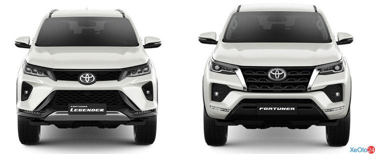 Phần đầu xe của xe Toyota Fortuner 2021 có 2 phiên bản đáng chú ý
