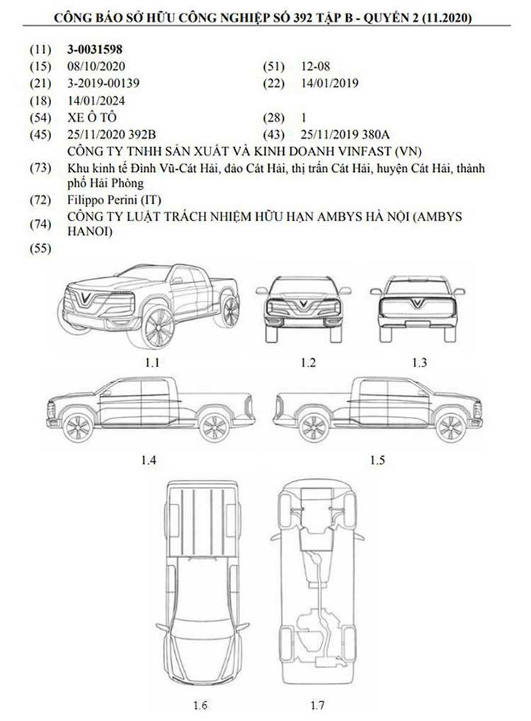 VinFast đã được cấp bằng độc quyền về kiểu dáng cho mẫu xe mới