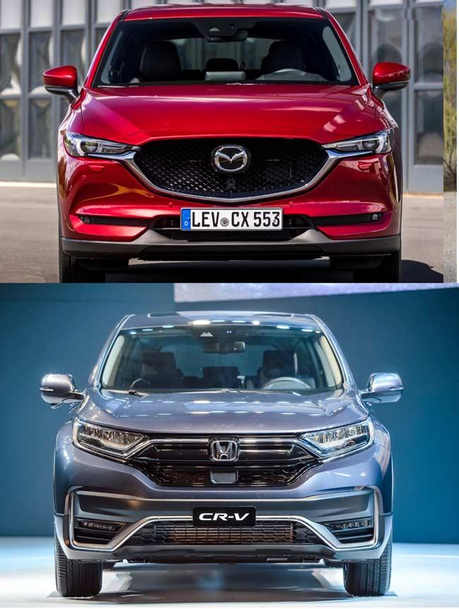 So sánh phần đầu xe Honda CR-V và Mazda CX-5