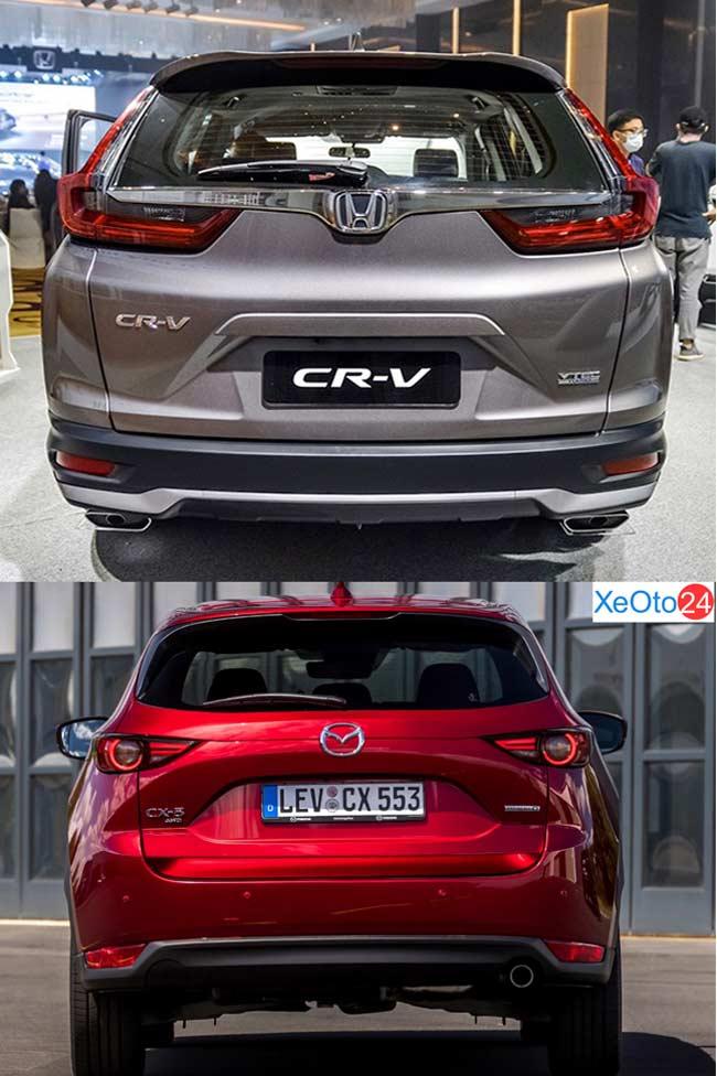 So sánh phần đuôi xe Honda CR-V 2021 và Mazda CX-5 2021