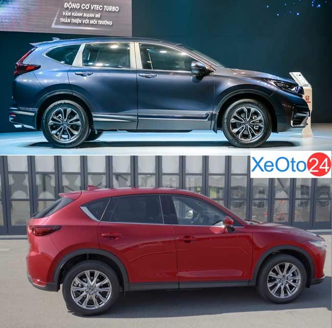 So sánh phần thân xe Honda CR-V và Mazda CX-5