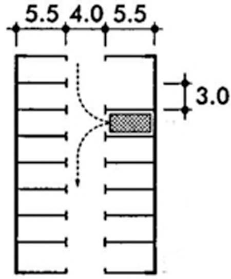 Kích thước bãi đỗ xelối đi hẹp